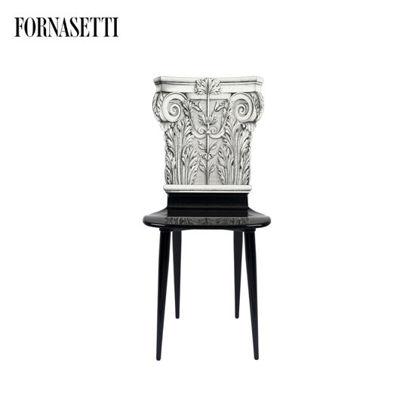 Picture of Fornasetti Chair Capitello Corinzio black/white
