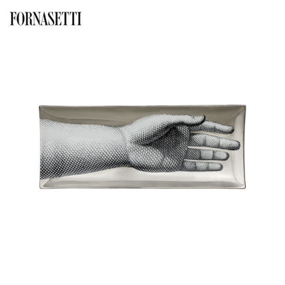 Picture of Fornasetti Rectangular tray Mano black/white/platinum