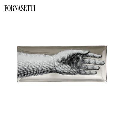 Picture of Fornasetti Rectangular tray Mano black/white/platinum