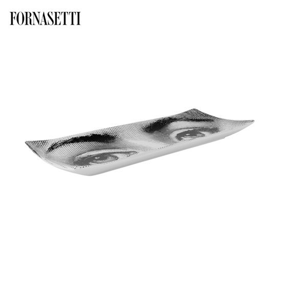 Picture of Fornasetti Rectangular tray Occhi black/white