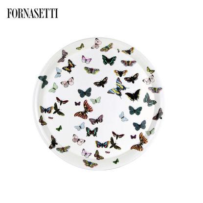 Picture of Fornasetti Tray ø60 Farfalle colour/white