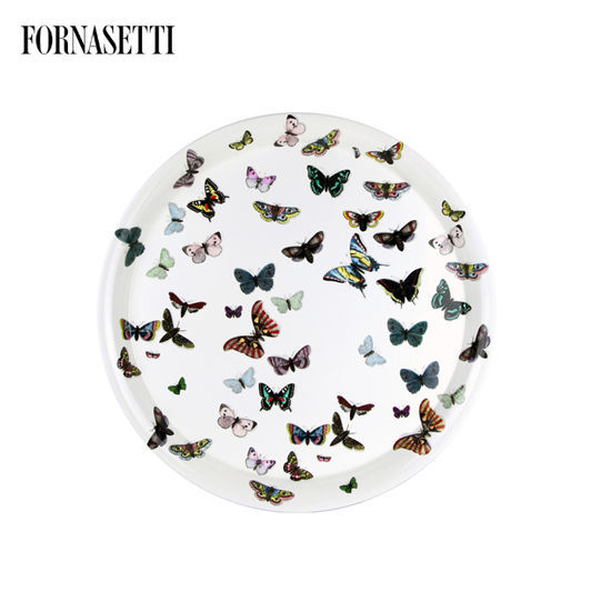 Picture of Fornasetti Tray ø60 Farfalle colour/white