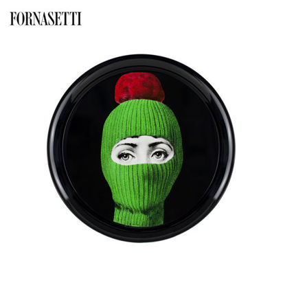 Picture of Fornasetti Tray ø60 Lux Gstaad green-ponpon red
