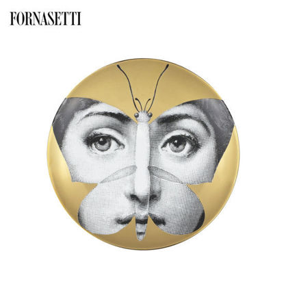 Picture of Fornasetti Porcelain Wall plate Tema e Variazioni n°96 black/white/gold