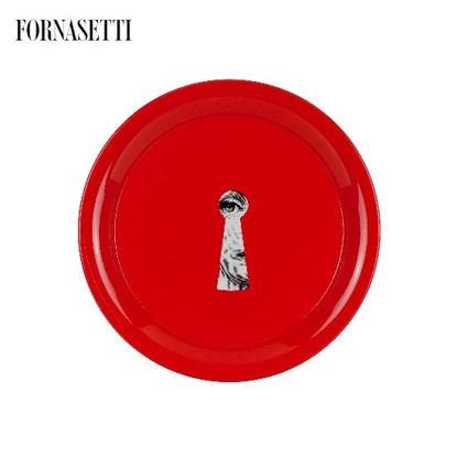 Picture of Fornasetti Tray ø40 Serratura black/white on red