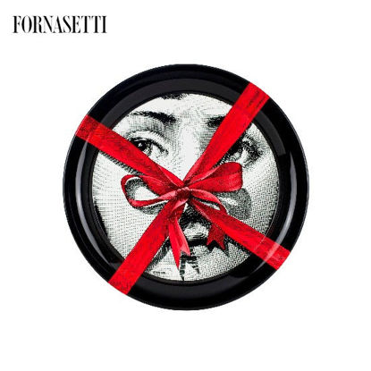 Picture of Fornasetti Tray ø40 Gift Tema e Variazioni n°171 black/white/red