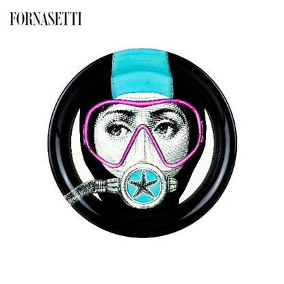 Picture of Fornasetti Tray ø40 Silviasub light blue/mask pink
