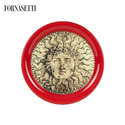 Picture of Fornasetti Tray ø40 Re Sole gold/red