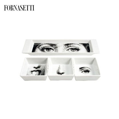 Picture of Fornasetti Appetizer set I Sensi black/white