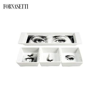 Picture of Fornasetti Appetizer set I Sensi black/white