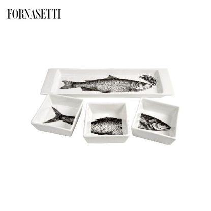 Picture of Fornasetti Appetizer set Pesci black/white