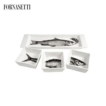 Picture of Fornasetti Appetizer set Pesci black/white