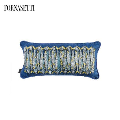 Picture of Fornasetti Silk cushion Sardine blue