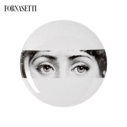 Picture of Fornasetti Porcelain Wall plate Tema e Variazioni n°32 black/white