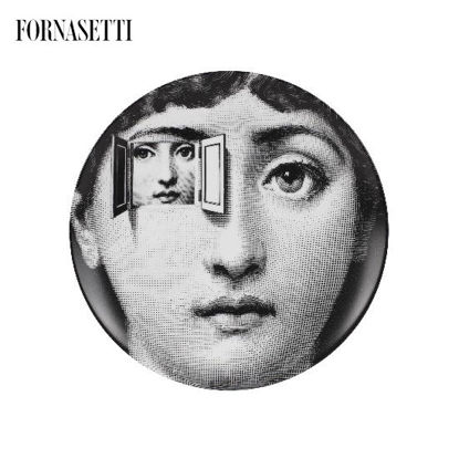 Picture of Fornasetti Porcelain Wall plate Tema e Variazioni n°116 black/white