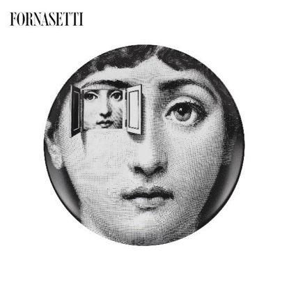 Picture of Fornasetti Porcelain Wall plate Tema e Variazioni n°116 black/white