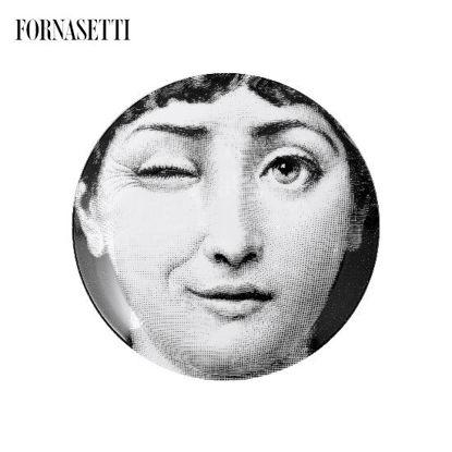 Picture of Fornasetti Porcelain Wall plate Tema e Variazioni n°130 black/white