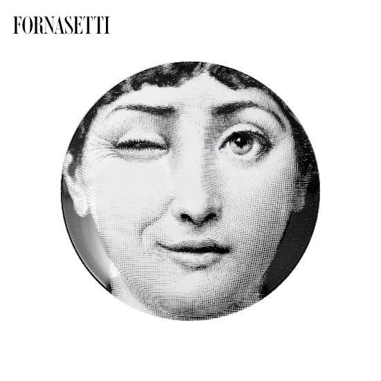 Picture of Fornasetti Porcelain Wall plate Tema e Variazioni n°130 black/white