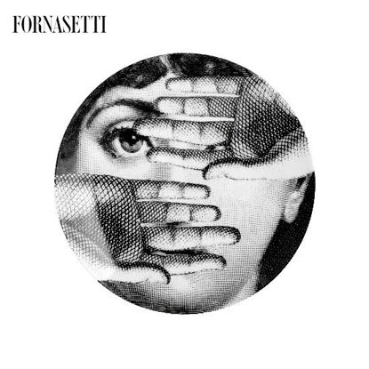 Picture of Fornasetti Porcelain Wall plate Tema e Variazioni n°154 black/white