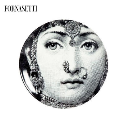 Picture of Fornasetti Porcelain Wall plate Tema e Variazioni n°228 black/white