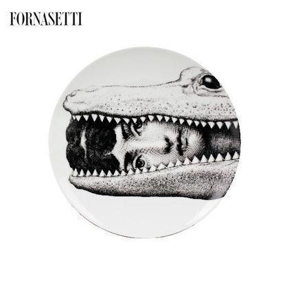 Picture of Fornasetti Porcelain Wall plate Tema e Variazioni n°233 black/white