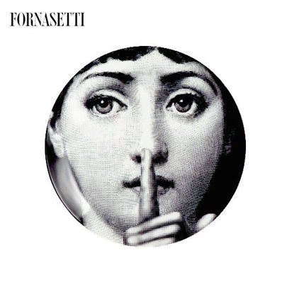 Picture of Fornasetti Porcelain Wall plate Tema e Variazioni n°334 black/white