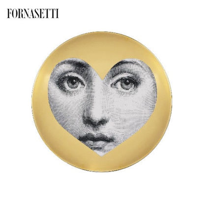 Picture of Fornasetti Porcelain Wall plate Tema e Variazioni n°41 black/white/gold