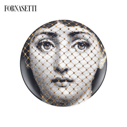 Picture of Fornasetti Porcelain Wall plate Tema e Variazioni n°78 black/white/gold