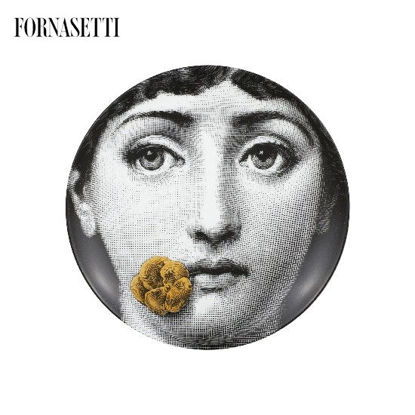 Picture of Fornasetti Porcelain Wall plate Tema e Variazioni n°137 black/white/gold