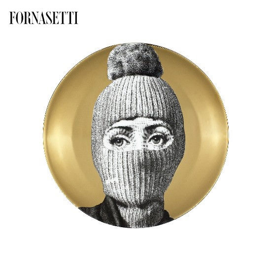 Picture of Fornasetti Porcelain Wall plate Tema e Variazioni n°160 black/white/gold