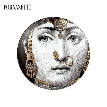 Picture of Fornasetti Porcelain Wall plate Tema e Variazioni n°228 black/white/gold