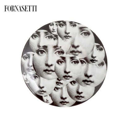 Picture of Fornasetti Porcelain Wall plate Tema e Variazioni n°165 black/white