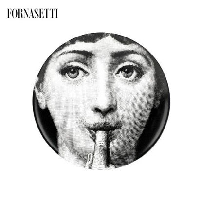 Picture of Fornasetti Porcelain Wall plate Tema e Variazioni n°178 black/white