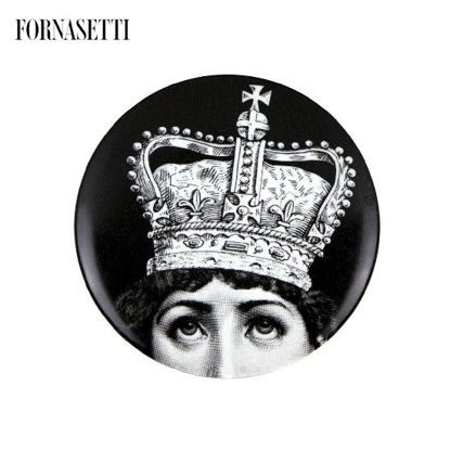 Picture of Fornasetti Porcelain Wall plate Tema e Variazioni n°369 black/white