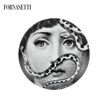 Picture of Fornasetti Porcelain Wall plate Tema e Variazioni n°383 black/white