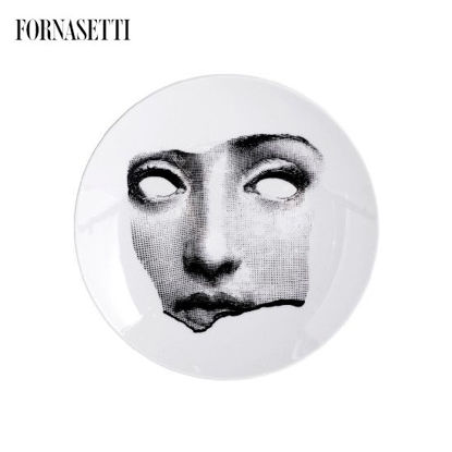 Picture of Fornasetti Porcelain Wall plate Tema e Variazioni n°64 black/white