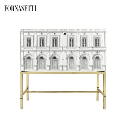 Picture of Fornasetti Raised sideboard Architettura b/w brass base