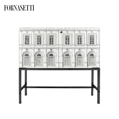 Picture of Fornasetti Raised sideboard Architettura white/black iron black base