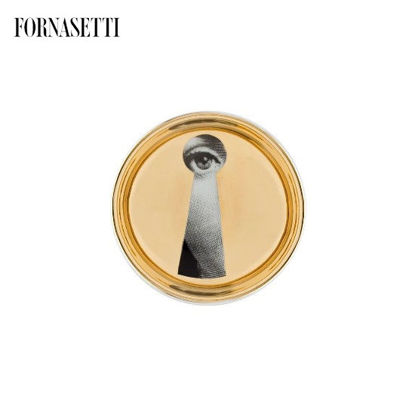 Picture of Fornasetti Round ashtray Tema e Variazioni n°14 black/white/gold