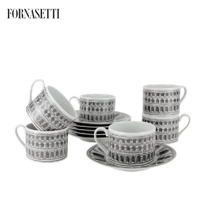 Picture of Fornasetti Set 6 tea cups Architettura black/white