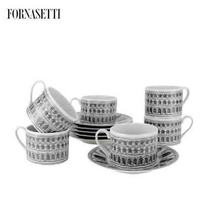 Picture of Fornasetti Set 6 tea cups Architettura black/white