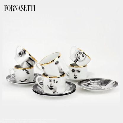 Picture of Fornasetti Set 6 tea cups Tema e Variazioni 2005 black/white/gold