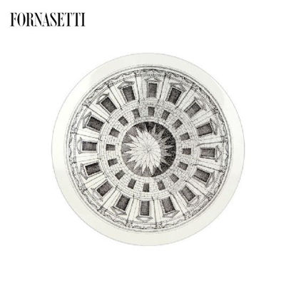 Picture of Fornasetti Table ø36 Cortile black/white - brass tripod base