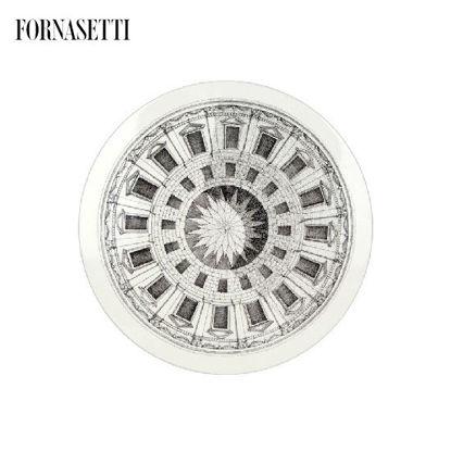 Picture of Fornasetti Table ø36 Cortile black/white - brass tripod base