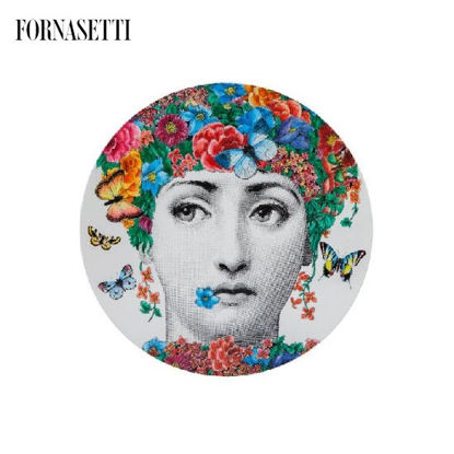 Picture of Fornasetti Table ø36 Fior di Lina colour - brass tripod base