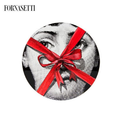 Picture of Fornasetti Table ø36 Gift Tema e Variazioni n°171 black/white/red - tripod black base