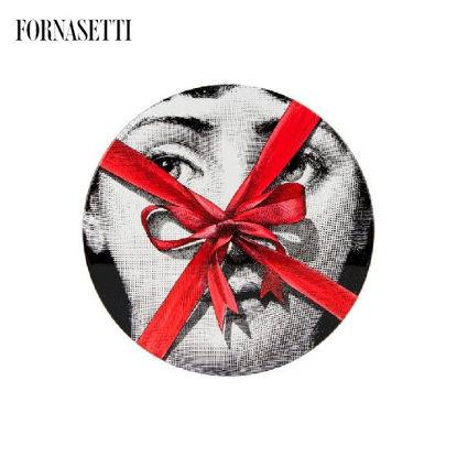 Picture of Fornasetti Table ø36 Gift Tema e Variazioni n°171 black/white/red - tripod black base