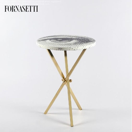 Picture of Fornasetti Table ø36 Occhio black/white - brass tripod base