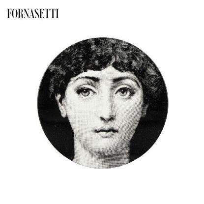 Picture of Fornasetti Table ø36 Tema e Variazioni n°1 black/white - brass tripod base