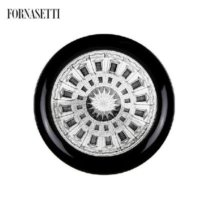Picture of Fornasetti Tray ø40 Cortile black/white on black
